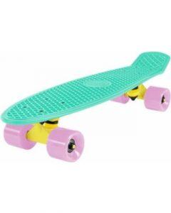 cal-7-complete-mini-cruiser-skateboard-22-inch-plastic-in-retro-design-mint-yellow-light-pink