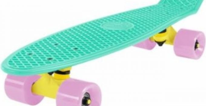 cal-7-complete-mini-cruiser-skateboard-22-inch-plastic-in-retro-design-mint-yellow-light-pink